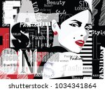 fashion woman in style pop art... | Shutterstock .eps vector #1034341864