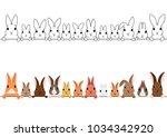 rabbits border set | Shutterstock .eps vector #1034342920