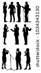 vector set of orator silhouettes | Shutterstock .eps vector #1034343130