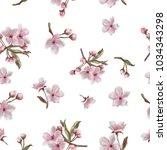 hand painted watercolor sakura... | Shutterstock . vector #1034343298