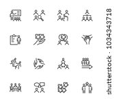 line icon set related to team... | Shutterstock .eps vector #1034343718
