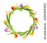 circle of multicolored tulips... | Shutterstock . vector #1034345353