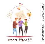 room escape design concept with ... | Shutterstock .eps vector #1034346250