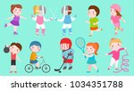 sport kids characters boys and... | Shutterstock .eps vector #1034351788