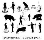 vector circus silhouettes   Shutterstock .eps vector #1034351914