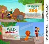 zoo visitors horizontal banners ... | Shutterstock .eps vector #1034353234