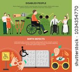 disabled person flat banner set ... | Shutterstock .eps vector #1034354770