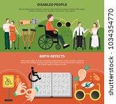 disabled person flat banner set ... | Shutterstock .eps vector #1034354770