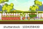 beautiful flower bed vector...   Shutterstock .eps vector #1034358430