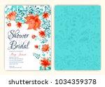 floral frame bridal shower... | Shutterstock .eps vector #1034359378