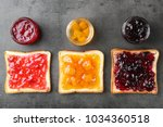 delicious toasts with various... | Shutterstock . vector #1034360518