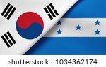 flag of south korea and honduras | Shutterstock . vector #1034362174