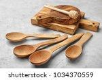 Wooden Kitchen Utensils On Table