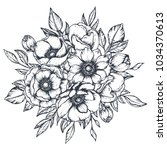 vector black and white floral... | Shutterstock .eps vector #1034370613