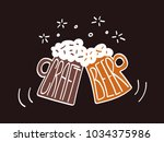 two clink glasses mug of craft... | Shutterstock .eps vector #1034375986