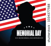 memorial day. remember and... | Shutterstock .eps vector #1034377588