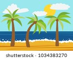 cartoon nature landscape with... | Shutterstock .eps vector #1034383270