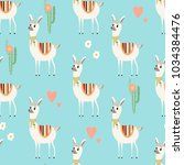 seamless pattern with cute... | Shutterstock .eps vector #1034384476