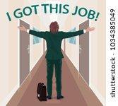 happy new employee enjoys to...   Shutterstock .eps vector #1034385049