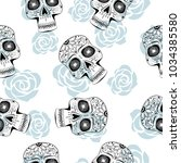 seamless pattern with stylized... | Shutterstock .eps vector #1034385580