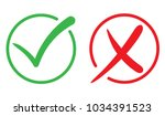 check mark  tick and cross icon.... | Shutterstock .eps vector #1034391523