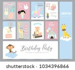 blue pink pastel greeting card... | Shutterstock .eps vector #1034396866