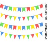 set of color hanging flags.... | Shutterstock .eps vector #1034397889