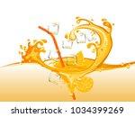 oranges and orange juice splash | Shutterstock .eps vector #1034399269