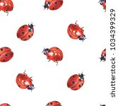 Lady Bugs Watercolor Seamless...