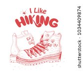 hiking boots and hand lettering ... | Shutterstock .eps vector #1034409874