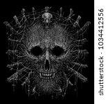 totem shaman mask head werewolf ...   Shutterstock . vector #1034412556