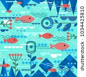 underwater design with fishes... | Shutterstock .eps vector #1034425810