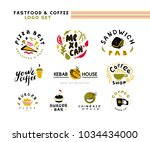 collection of flat fast food... | Shutterstock . vector #1034434000