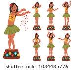 dancing hawaiian doll for car.... | Shutterstock .eps vector #1034435776