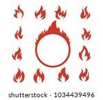 red flaming fire clip art logo...   Shutterstock .eps vector #1034439496