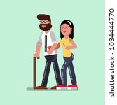 voluntire female helps to blind ... | Shutterstock .eps vector #1034444770