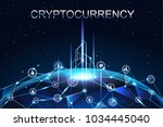cryptocurrency and digital... | Shutterstock .eps vector #1034445040