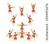 cheerleader girls team set.... | Shutterstock .eps vector #1034451676