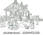 colorful grown up men making... | Shutterstock .eps vector #1034452150