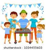 happy people having a... | Shutterstock .eps vector #1034455603