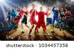 Small photo of successful football, soccer, basketball, baseball, tennis players, cars, boxing fighters on professional 3D basketball court arena in lights with confetti, serpantine and smoke. collage, multi ,sport