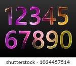 set of numbers  neon glow ... | Shutterstock .eps vector #1034457514