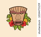 funny cartoon tiki mask with... | Shutterstock .eps vector #1034473159