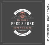 wedding save the date... | Shutterstock .eps vector #1034474260