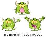 green monster cartoon emoji... | Shutterstock .eps vector #1034497006