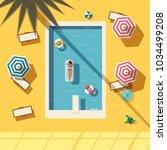 hello summer. swimming pool.... | Shutterstock .eps vector #1034499208