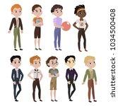 set of boys dressed in... | Shutterstock .eps vector #1034500408