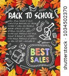 back to school blackboard... | Shutterstock .eps vector #1034502370
