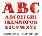 capital letters of the english... | Shutterstock .eps vector #1034504089
