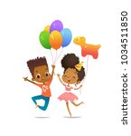 joyous african american boy and ... | Shutterstock .eps vector #1034511850